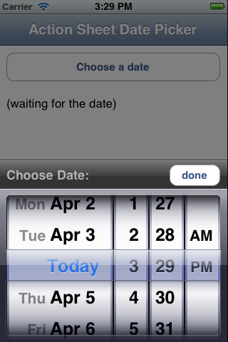 Actionsheet Date Picker